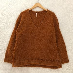 Free People nubby v neck Lofty pullover sweater
